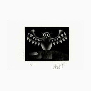 Mario AVATI : Le Hibou - Gravure originale signée