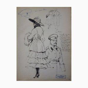 Georges CONRAD : Etude d'une femme mondaine et d'un soldat russe, Dessin original, signé