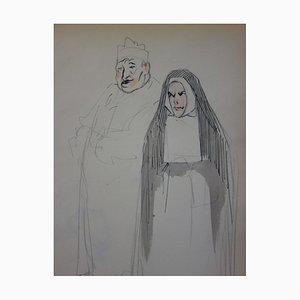 Paar Religieux Zeichnung von Georges Conrad
