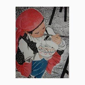 Petite fille Ouigour Radierung von Simone Vrain