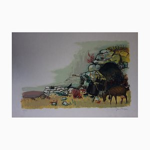 La Fileuse Lithograph by Yves Brayer