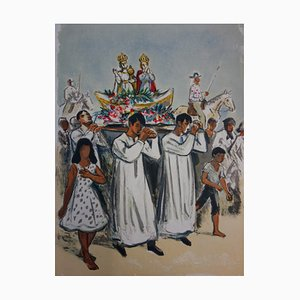 La Procession Religieuse Lithograph by Yves Brayer