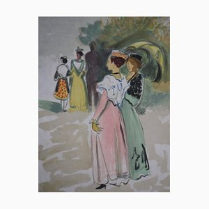 Promenade with the Umbrella Lithograph by Yves Brayer