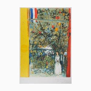 Les Mariés du 14 Juillet Lithograph by Yves Commere