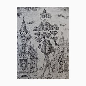 Lucien COUTAUD - The man, surrealist castle, original signed engraving