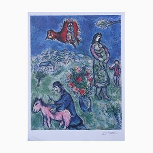 Marc CHAGALL (after) : The village road - Signed and numbered Lithograph, 500 copies