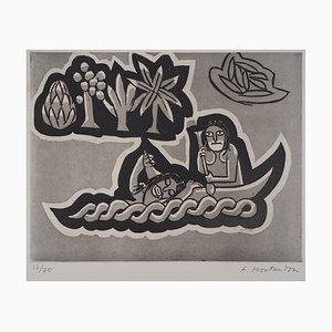 Aimé MONTANDON - The canoe, original engraving
