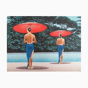 Patrick LE HEC'H - Les parasols rouges, Lithographie originale signée au crayon