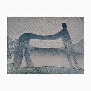 Jean-Michel FOLON : Sous la pluie - Lithographie en couleur