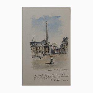 G. GODON: Arras, Place Victor Hugo - Aquarell signée