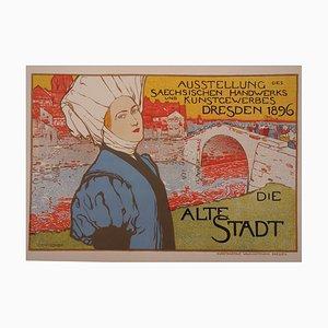Otto Fischer : La vieille ville - lithographie originale signée, 1897