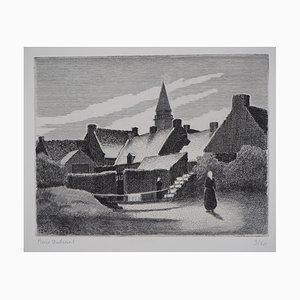 Pierre DUBREUIL : Village à Midi - Gravure originale signée