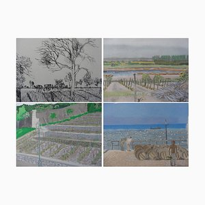Maurice BRIANCHON : Vignes de France - Quatre lithographies, Signées