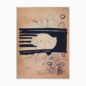 Bernard DUFOUR - Personnages dans un paysage - Sérigraphie originale signée, 1969