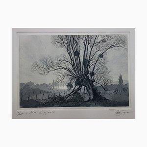 René BONVALOT : Aube campagnarde, Gravure originale signée
