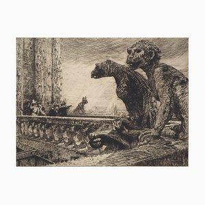 Charles JOUAS : Tours Notre-Dame, les Gargouilles - Eau forte Originale Signée