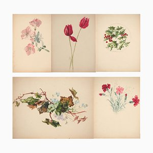 Ecole du début du XXe siècle : Bouquet floral - Lot de 5 Aquarelles Originales