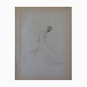 Pensive Woman Engraving by Paul-César Helleu