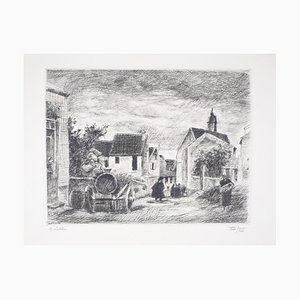 Maisons de Village Engraving by Robert Lotiron