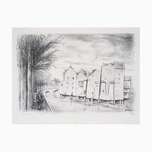 Maisons sur Pilotis Lithograph by Robert Lotiron