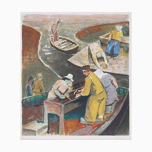 Robert LOTIRON : Retour de pêche - Lithographie originale signée