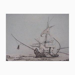 Les Grèves du Gisant Engraving by Bernard Louedin