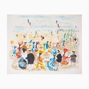 Urbain HUCHET : Deauville, Promenade au bord de la plage - Lithographie originale signée