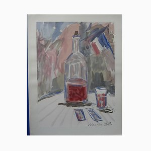 """Maurice UTRILLO - """"The wine of the 14th of July"""", 1952, signed lithograph and stencil"""