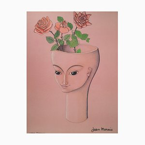 Jean MARAIS (1913 - 1998) - The Woman with Roses, signed lithograph