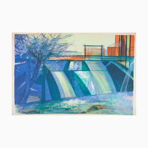 The Dam Lithograph by Camille Hilaire, 1975