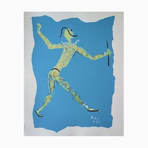 Harlequin Holding Candelabra Lithograph by Jean Cocteau