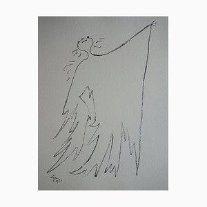Dancer With Large Cape Lithograph by Jean Cocteau