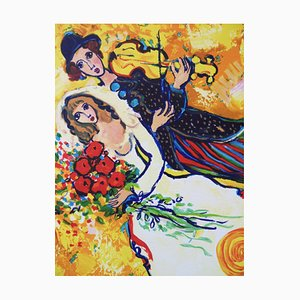 Wedding With A Violin Lithograph on Vellum by Raya Sorkine