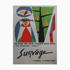 Femme et Oiseau Lithograph by Leopold Survage, 1963