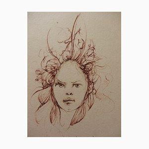 Gravure Hair in the Wind par Léonor Fini, 1970s
