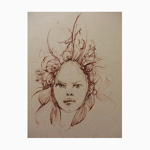 Hair in the Wind Engraving by Léonor Fini, 1970s