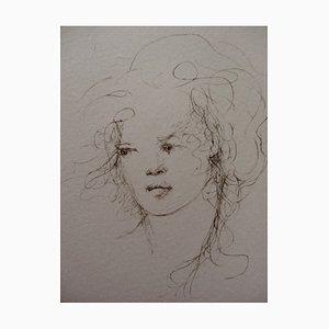 Pensive Woman Engraving by Léonor Fini, 1970s