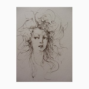 Surprised Young Woman Engraving by Léonor Fini, 1970s