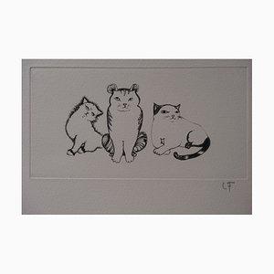 The Kittens Stich von Léonor Fini, 1970er