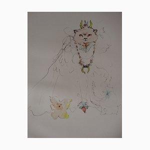 Gravure The King of Cats par Leonor Fini, 1970s