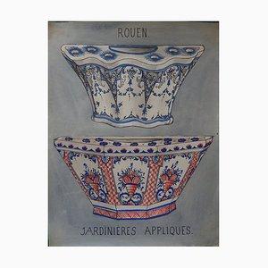 Jardinières Appliques von Faiences Rouen