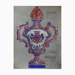 Gouache Vase Médicis par Andy Warhol