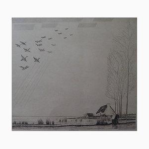 Flight of Ducks Etching by Jean-Emile Laboureur