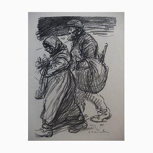 Réfugiés Lithograph by Théophile Alexandre Steinlen