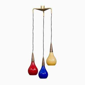 Lampada da soffitto in vetro di Murano e ottone di Vistosi, anni '60