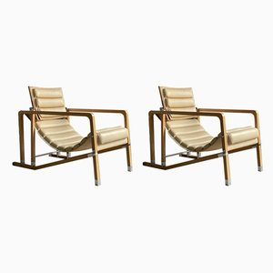 Cream Leather and Beech Transat Lounge Chairs by Eileen Gray for Ecart International, Set of 2