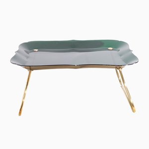 Folding Green Brass Breakfast Tray by Jean Burkhalter, 1950s