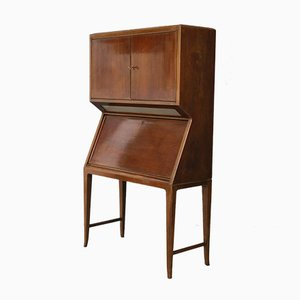 Italian Walnut and Maple Bar Cabinet, 1950s
