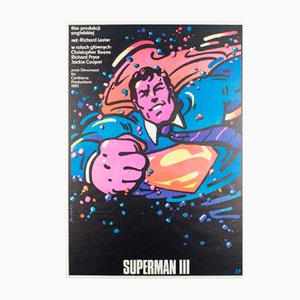Vintage Superman 3 Film Poster by Waldemar Swierzy, 1980s