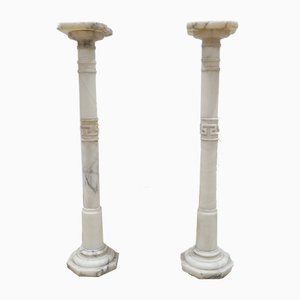 Marble and Alabaster Columns, 1930s, Set of 2